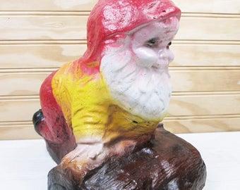 """Vintage Cement Garden Gnome Red Hat On Log Yard Elf Statue 10"""" Plaster Outdoor Figurine"""