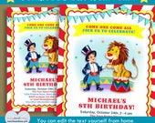 Carnival invite - Circus ringmaster invitation - brown Hair boy - kids circus birthday party  INSTANT DOWNLOAD #P-10-BOY  with editable text
