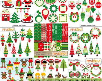 Christmas clipart - Christmas special clip art big mega bundle - red green christmas clip art - instant download, commercial use