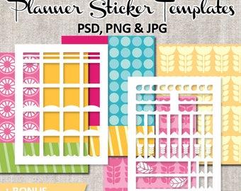 Planner sticker DIY Kit / Commercial use Erin Condren template blank, printable DIY plan sticker Life Planner templates / spring design