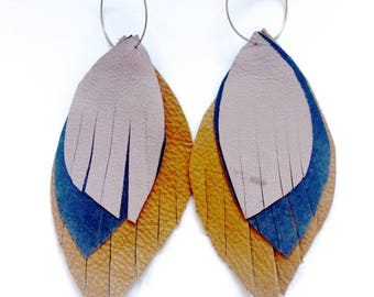 Leather Feather Earrings in camel, purple and lavender - recycled leather-ecofriendly jewelry, leather feathers, feather earrings