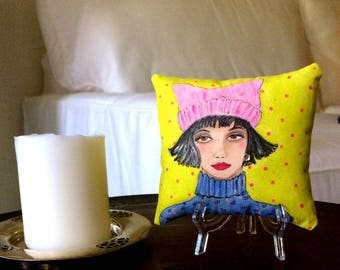 WOMEN'S MARCH PILLOW, hand painted pillow, little girl gift, pussy hat, feminist pillow, Paris girl, 5 in X 5 in, gift for her, girl quote