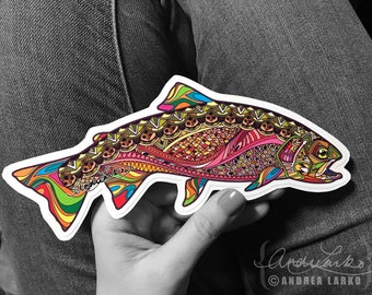 Cutbow Trout Zentangle Laminated Die Cut 3M Vinyl Decal