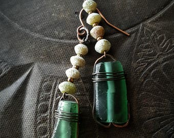 Ancient Roman Glass, Roman Glass, Emerald Green, Artisad Made, Copper, Organic, Rustic, Earthy, Beaded Earrings