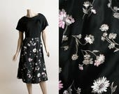 Vintage 1950s Dress - Dark Floral Light Pink Flower Print Painted Skirt - Jersey Knit Top - Casual Party Dress -  Large