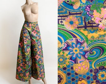 Vintage 1960s Psychedelic Pants - Wide Leg Palazzo Style Flower Power Butterfly Summer of Love Hippie Boho - High Waist Bright Neon - Small