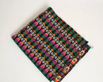 Vintage Guatemalan Textile - Large Rectangle Ethnic Neon Vibrant Folk People Fabric - Wall Hanging - Flower - 1960s 1970s Boho