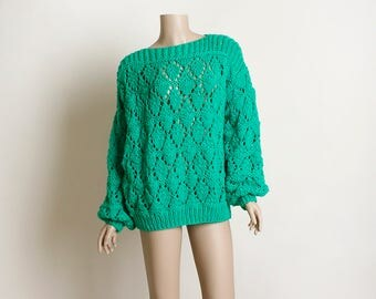 Vintage Slouchy Knit Sweater - Bright Kelly Emerald Green Loose Knit Crochet Style Bishop Sleeve Sweater - Medium