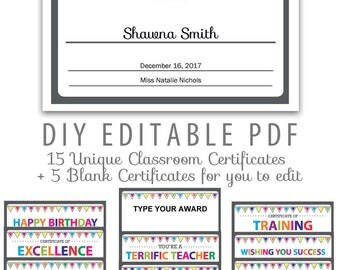 Editable PDF Kids Children Teacher Classroom Certificate Award Letter Size  Template 20 Pack Printable Rainbow Colors  Blank Certificate Of Recognition