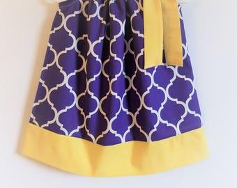LSU Dress Pillowcase Dress Quatrefoil Dress Girls Dresses Purple and Yellow College Football Game Day Dress lsu baby lsu clothes lsu Tigers