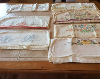 Pillowcase Sets  Vintage Linen Lot Value Bundle Seven Sets which Includes Embroidery, Crochet  - B120