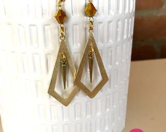 ROCKER CHIC - Gold Geometric Dangle Spike Earrings