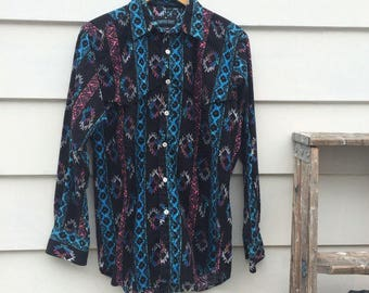 Mens vintage shirt COSMIC cowboy Western Pearl Snap Rodeo cool psychedelic trucker cOwboy neon aztec southwest Shirt
