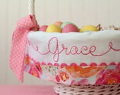 Personalized Easter Basket Liner, Watercolor Fabric, Melon Mist Hot Pink Coral Peach, Girl Easter Basket, fits Pottery Barn Kids