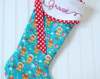 Christmas Stockings Personalized, Quilted Christmas Stocking, Hand Embroidered Personalization Gingerbread Christmas Stocking