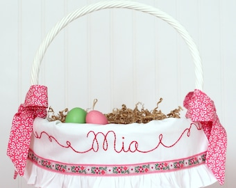 PRE-ORDER Personalized Easter Basket Liner Hot Pink Girl Heirloom White Ruffle Floral Ribbon Hand Embroidered Fits Pottery Barn Kids Baskets