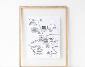 Watkinsville, Georgia Pen and Ink Map 8x10 Art Print