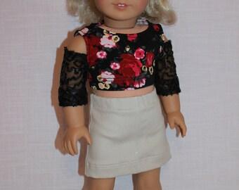 18 inch doll clothes, peek a boo shoulder floral print crop top, stone coloured denim skirt , Upbeat Petites