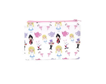 CHOOSE SIZE Alice in Wonderland Zipper Pouch / Mad Hatter March Hare Queen of Hearts Flamingo Camera Bag on White / Make Up or Coin Pouch
