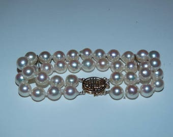 Freshwater Double Strand Pearl Bracelet 14k Yellow Gold Clasp & Bars, Used without tags, White Pearls, Cultured, Unbranded