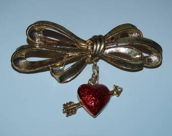 Vintage Gold Bow Valentine Brooch, Arrow, Heart, Red Heart, Valentines Day Pin, Brooch