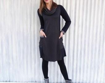 Two Tone Winter Dress with Pockets - Ready to Ship! - Yana Dee