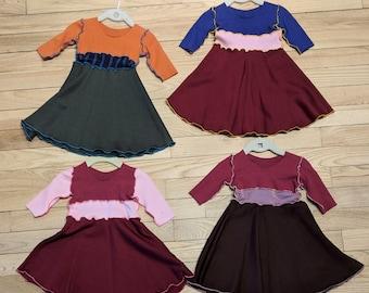 Bamboo Fleece Baby Dress - Size 6-18 Month - Warm Winter Dress for Kids - Handmade from All Natural & Organic Fabrics
