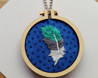 "Women's necklace - feather embroidery hoop pendant on 50cm / 20"" chain"