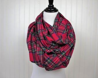Red Plaid Scarf - Royal Stewart Tartan Plaid - Flannel Infinity Scarf - Womens Scarves