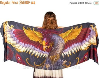SALE Phoenix Scarf, Fantasy Art, Mustard Scarf, Cosplay Clothing, Wing Scarf Elven Clothing, Bridesmaid Gift, Wearable Art Scarf Goddess Clo