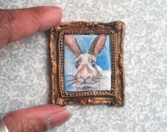 1:6 Scale Brown and White Bunny Rabbit Pet Portrait Oil Painting, Framed READY to SHIP