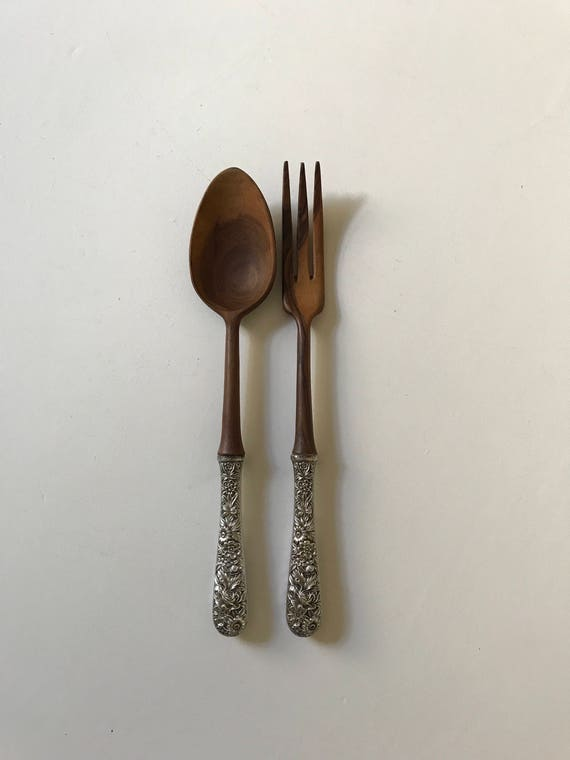 Kirk and Son Sterling Silver and Olive Wood Salad Serving Set Made in France Baltimore Rose Repousse
