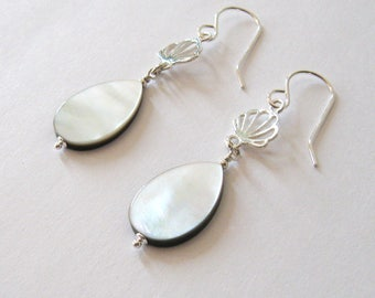 Iridescent White Mother of Pearl Sterling Silver Shell Earrings, Reversible to Gray - Black