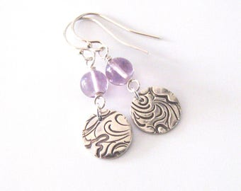 Amethyst Gemstone Earrings Fine Silver Wave Pattern Drops One of a Kind Eco Friendly Silver Earrings