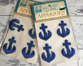 Vintage Anchor Patches Appliqué Navy Blue Small Stitched Nautical Design