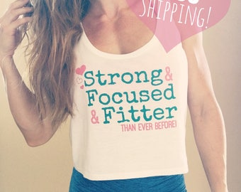 Strong Focused & Fitter Motivational Workout Apparel Crop Top in White Pink Hearts Yoga Running Pilates Crossfit Girly Gym Shirt Fit Beauty