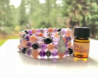 Amethyst + Pink Moonstone Essential Oil Diffuser Gemstone Fully Adjustable Bracelet w/ Sample Essential Oil Aromatherapy Blend