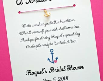 A Bride's Wish - Anchor's Aweigh Nautical Theme - Wish Bracelet Party Favor Custom Made for You