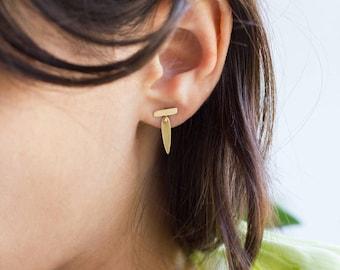 Lilia, 14k gold dangle earrings, 14k gold bar earrings, 14k gold stud earrings, solid gold dangle earrings, solid gold drop earrings,