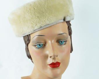 Vintage 1960s Hat Cream Faux Fur Pillbox by Ambrose