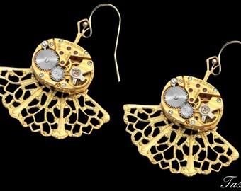 Gold Filigree Steampunk Earrings, Dangle Bridal Earrings, Victorian Art Nouveau Inspired Jewelry