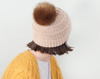 Knit Slouchy Beanie, Beige,  READY TO SHIP