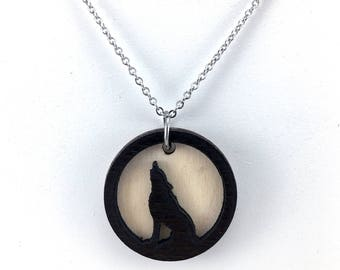 Wolf Essential Oil Necklace, Essential Oil Jewelry, Howling Wolf Pendant, Aromatherapy Necklace, Wolf Diffuser Necklace, Laser Cut Jewelry