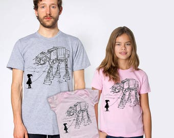 New dad fathers day gift, My ATAT Pet family shirts combo, father daughter matching set, daddy's girls,star wars funny t-shirts,gift for dad