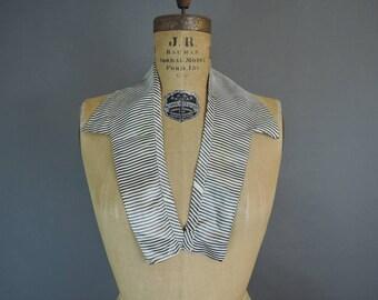 Vintage Striped Taffeta Collar, 1900s Edwardian to 1920s Blouse or Dress Collar
