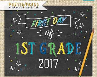 First Day of School Chalkboard, Boy First Day of School Sign, Chalkboard 1st Day of 1st Grade Sign, Instant Download