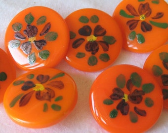 Set of 5 VINTAGE Painted Flower Orange Glass BUTTONS