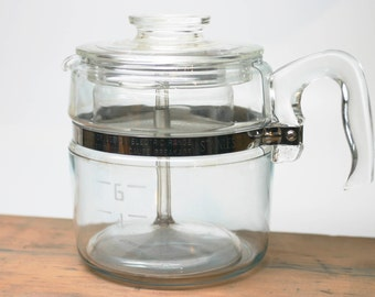 Pyrex Vintage Glass Flameware 6 Cup Percolator #7756-B Stove Top Complete and Clean
