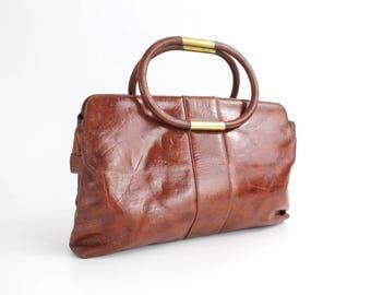 Vintage 1960s Brown Handbag   Brown Leatherette Handbag with Rolled Handles   Mod Handbag