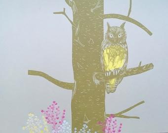 Short Eared Owl - Lino Cut